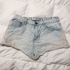 593414c5cea Pants - Light wash jean lace booty shirts